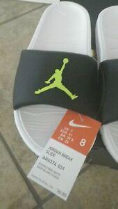 NEW Nike Jordan Break Slide Size 8 Black White Green AR6374-031 Sandals Slippers