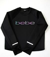 bebe Sport Women Embossed 3D Metallic Logo Scuba Pullover Top L Black Thumbhole