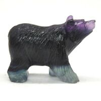 """2"""" Stone Carving Bear Figurine Fluorspar Crystal Healing Mineral Decor Gift G12"""
