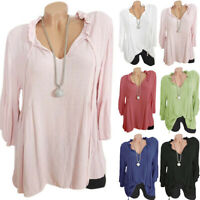 Womens Ruffle V-Neck Bell 3/4 Sleeve Tops Tunic Loose T Shirts Blouse Plus Size