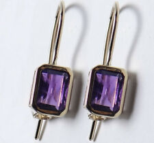 Classic Genuine 9K Solid Gold Natural Purple Amethyst Drop Earrings with closure