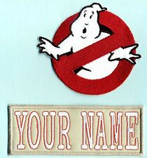 Adult LADY Ghostbusters No Ghost  & Custom Name Tag Patch Set [iron on style]