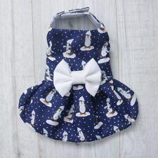 Chihuahua Christmas handmade dog dress - Navy Penguin - small breed clothes