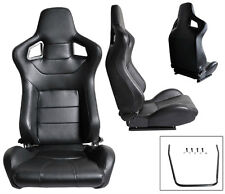 NEW 2 Black PVC Leather Racing Seats RECLINABLE 1964-2011 ALL Ford Mustang Cobra
