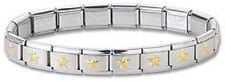 Italian Charm Bracelet Stainless Steel Gold Star 9 mm Modular Link Free Shipping