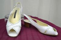 Zapatos De Salón Abiertos Sandalias VITULLI MODA En Piel Blanco T 39,5 CASI