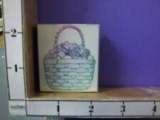 Wicker Basket full Easter Eggs handle rubber stamps 30E