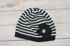 Womens Betsey Johnson Black Striped Flower Knit Beanie Warm Winter Hat OSFM