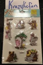 VINTAGE 80s EWOKS SOFT 3D PERK-UP STICKERS LFL 1983 DRAWING BOARD GREETING CARDS