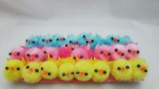 "24  Miniature 7/8"" Pom Pom Easter Chicks - Yellow, Pink & Blue"