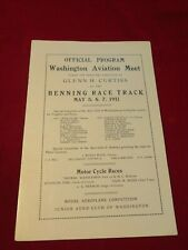 RARE 1911 WASHINGTON DC AVIATION MEET PROGRAM CURTISS Early Pioneer Biplane aero