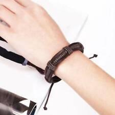 Men Boys Handmade Leather Braided Surfer Wristband Bracelet Bangle Wrap J