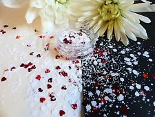 Nail Art Chunky *KiSs* White Hexagon Red Hearts  Mix Shape Glitter Spangle Pot