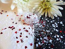 Nail Art Chunky *KiSs* White Hexagon Red Hearts  Mix Shape Glitter Spangle Pot