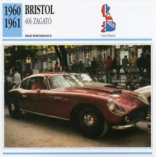 1960-1961 BRISTOL 406 ZAGATO Classic Car Photo/Info Maxi Card