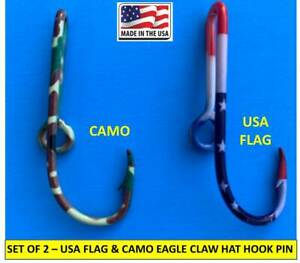 USA FLAG + CAMO HOOKS - EAGLE CLAW FISH HOOK HAT PIN MONEY CLIPS - Set of TWO(2)