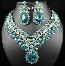 Vine Leaves Austrian Rhinestone Crystal Necklace Earrings Set Bridal Teal N812t