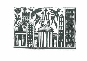 """Original Woodcut-Print """"Vilnius in Autumn"""" by Lithuanian Traditional Artist"""