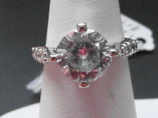 Solitaire with Accents White Gold Fine Rings