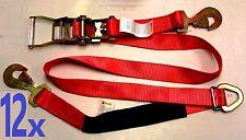 12x Race Car Trailer Tie Down Auto Car Hauler Ratchet Straps with Axle Strap RED