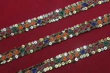 Antique Vintage Sari DOLL craft hand beaded border ribbon lace ZARDOSI ZARI 8