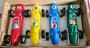 SELTEN CA 1960  BPP 4 RACING CARS WITH FRICTION MOTOR CA 15 CM BPP NUMMER 1001/4