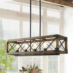 LNC/HOMEANGEL Wood Cage Cross-Iron Chandelier
