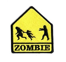 ZOMBIE CROSSING PATCH UNDEAD ZOMBIE ATTACK  IRON ON TO SEW ON ZOMBIE PATCH