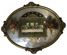 Antique Brass Oval Convex Glass Frame The Last Supper. Gilded Ornate Flowers