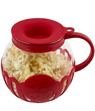 Ecolution Micro-Pop Microwave Red Popcorn Popper 1.5QT-Temperature Safe Glass