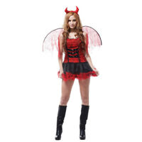Red Devil Satan Demon Adult Womens Costume Halloween Fancy Dress Cosplay