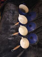 Set of Four Genuine Le Creuset Cast Iron Saucepans With Lids Blue Retro Rare