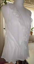 KOOKAI SEE THROUGH VINTAGE WHITE KNITTED LIGHT BLOUSE - SIZE 2 - M MEDUM - UK 10