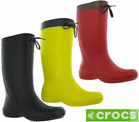 Crocs Freesail Rain Boot Womens Calf Wellington Winter Pull On Lightweight Boots