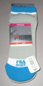 FILA~Shoe 5-9~Women's 2 Pr Gray/White/Blue Aerator Mesh Low Cut Socks 3278DF