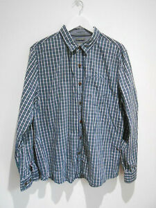 Fat Face Classic fit green blue white check pattern cotton shirt XL