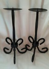 BLACK WROUGHT-IRON CANDLE HOLDER SET OF TWO