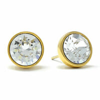 Stud Earrings with White Clear Round Crystals from Swarovski Gold Plated