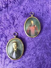 Pair of vintage Miniature Cameo portraits of Queen Elizabeth II