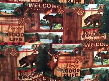 "wood patch Moose deer bear elk pine cone fleece fabric, 60""w, sold BTY"