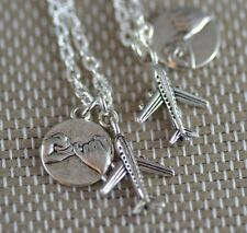 NP016-2 Two Pinky Swear Plane Necklaces, Best Friends, Travel Sister, Mum, BFF,