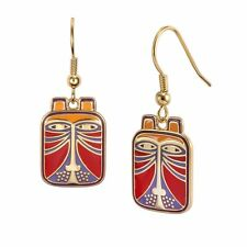 Laurel Burch Jewelry Red Toshio Lion Cat #5007 Gold Plating Drop Earrings NWT