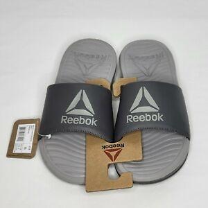 Men's Reebok Condition Slides Size 10 Gray W Gray Lettering Imprint New