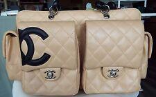 Chanel Biege & Black Cambon Leather Large Reporter Bag