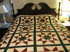 Hunter Green/Country Red Star Design Handmade Quilt