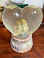 Vintage Cherubs In Snow Globe Music Box Heart Shape Thru The Eyes Of Love
