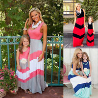 Mother and Daughter Mom & Me Boho Stripe Maxi Dress Family Matching Set Outfits