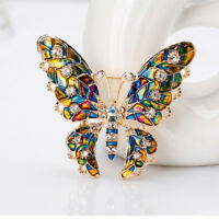Metal Brooch Rhinestone Lapel Pin Butterfly Insect Women Gift Fashion Jewelry