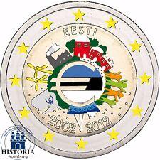 Estland 2 Euro Münze 10 Jahre Euro Bargeld 2012 Gedenkmünze Stempelglanz Farbe
