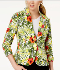 NWT XOXO Ruched Sleeve Tropical Hawaiian Flowers Button Front Blazer Jacket M